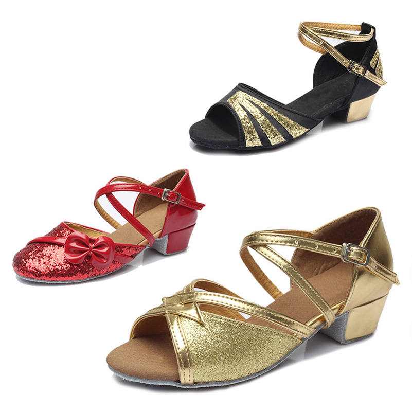 Ballroom tango latin dance shoes women Brands low heels dancing for kids girls womens children ladies shoe