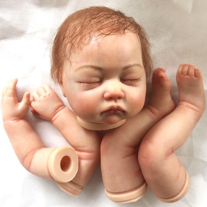 22 дюймов Кукла реборн комплект окрашенная кукла мягкий винил REBORN DIY купать BEBE мохер, бисером скелет, закрытые глаза DIY аксессуары