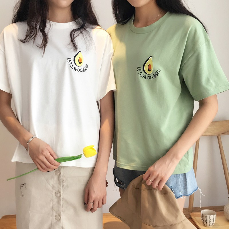 Summer Ladies Print Simple Embroidered O-Neck Short Sleeve T-Shirt Girls Cute Fashion Design Tops