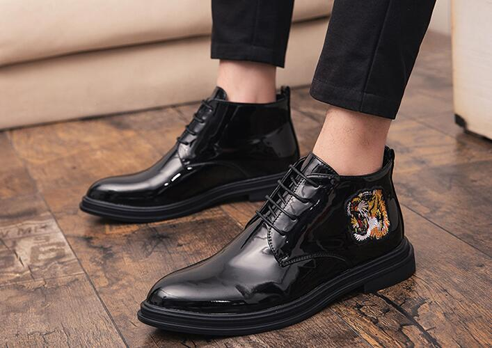 Chaussures Broderie Mariage Bal Date 1 De Appartements Pointu Designer Hommes Tigre Gentleman Luxe Robe Mâle AIOzq