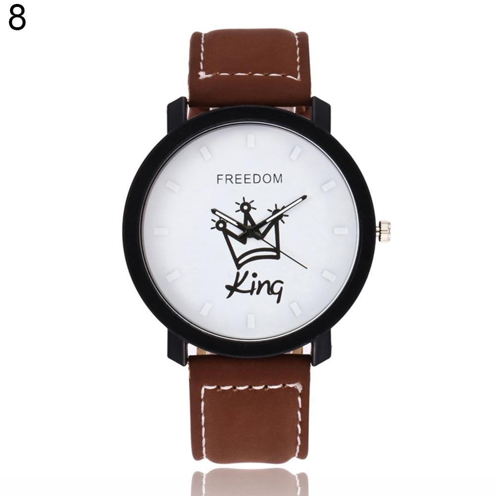 Новинка, пара, Королевская корона, Fuax, кожа, Кварцевые аналоговые наручные часы, хронограф, Wom reloj mujer - Цвет: 8