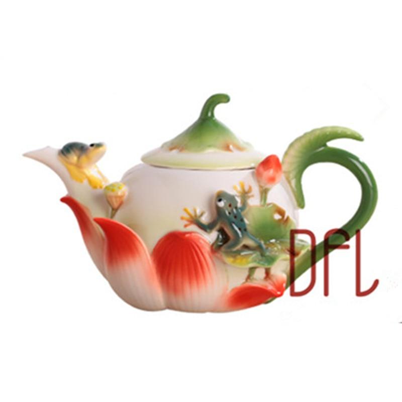 New 3D Enamel Coffee Tea Pot Creative Frog Lotus Porcelain Kettle Ceramic Bone China Drinkware