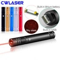 CWLASER 200mW 650nm Carregamento USB Ponteiro Laser Vermelho com Built-In Bateria Li-ion (5 cores)