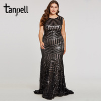 Tanpell Sequins Long Evening Dress Black Scoop Sleeveless Floor Length Dresses Mermaid Zipper Up Formal Party