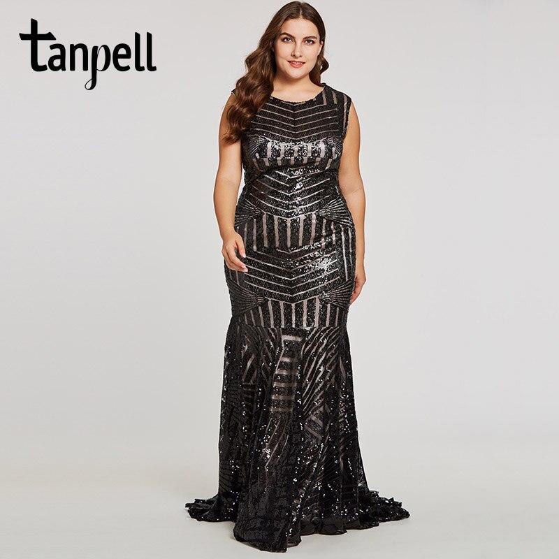 Tanpell sequins long evening dress black scoop sleeveless floor length dresses mermaid zipper up formal party plus evening gown