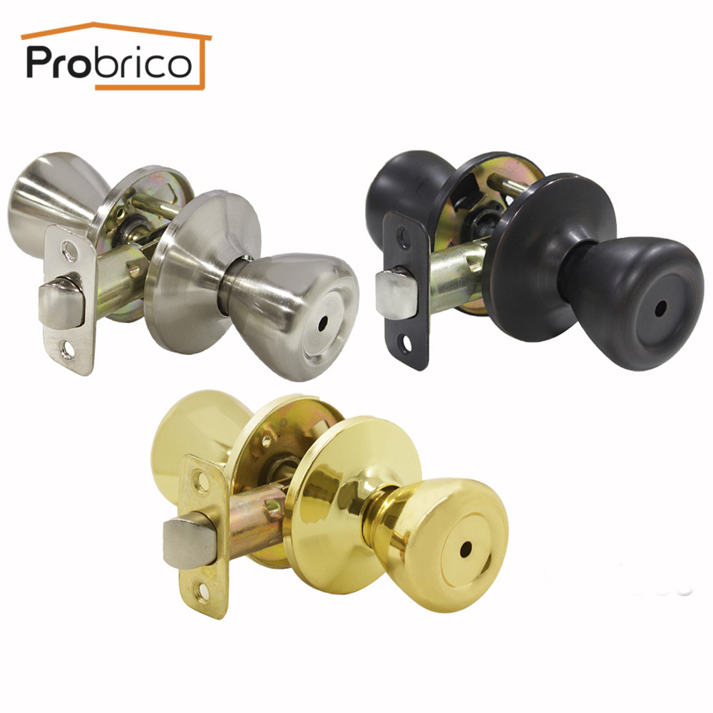 Probrico Tulip Ball Door Knobs Keyless Privacy Door Locks Kitchen Bathroom Golden locksets Adjustable Latch For Corridor Bedroom