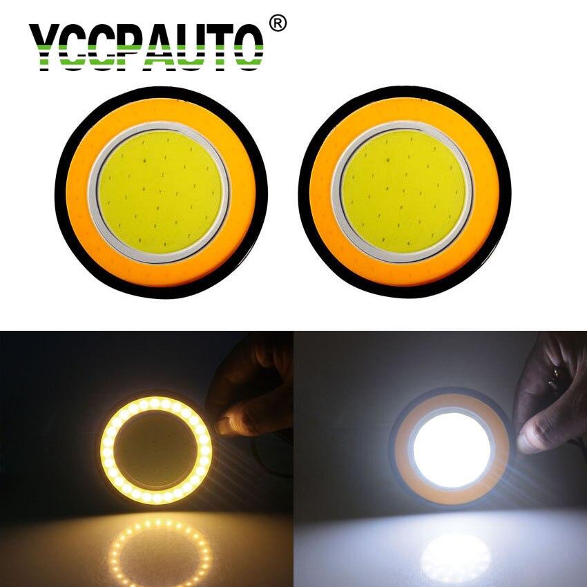 2 Pcs Bright White LED 90mm Round Dual Circle Daytime Running Turn Signal Light