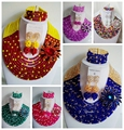 Encantador Traje Tradicional De La Boda de Nigeria Africano Granos Cristalinos de La Joyería BJN125