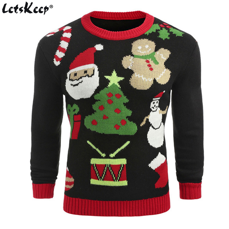 LetsKeep ugly christmas sweater men knitted patterns deer pullover sweaters winter warm round neck sweater jumper US size, MA550