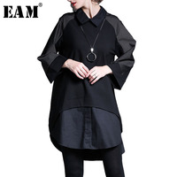 EAM 2018 New Spring Lapel Long Sleeve Striped Split Joint Solid Color Irregular Big Size