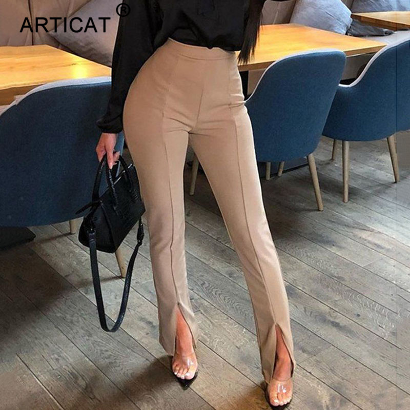 Articat Summer High Waist Casual Pants Women Split Elastic Waist Flare Trousers Women Black Solid Sexy Skinny Pants Streetwear