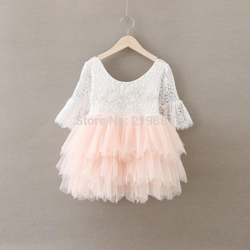 Detaliczna 2017 dziewczęca letnia koronkowa sukienka dla księżniczki, dziecięca sukienka, kostiumy dla dziewczynek, BW66