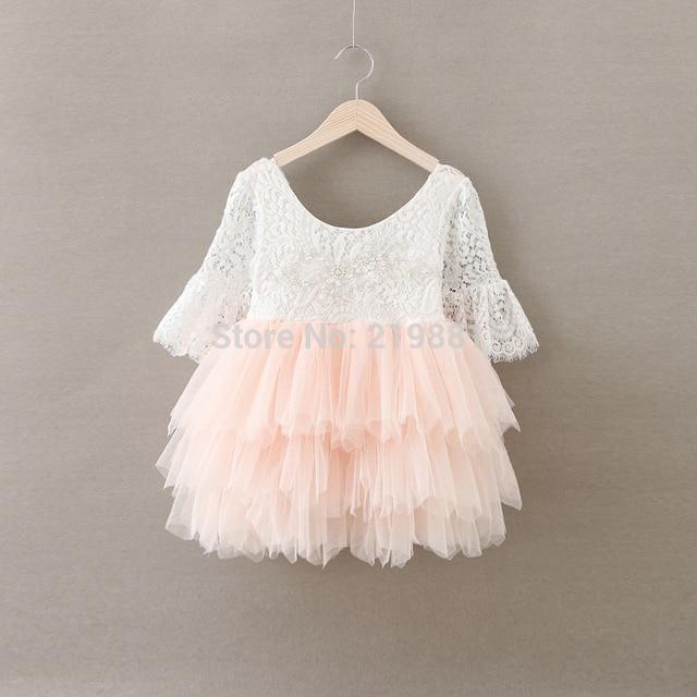 Retail 2017 Muchachas del verano vestido de princesa de encaje, vestido de los cabritos, trajes de las niñas, BW66