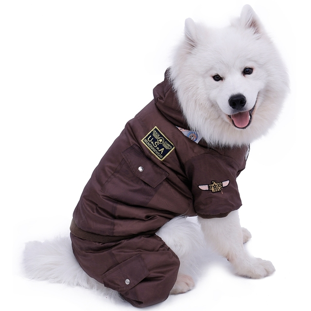 Hot Winter Warm Thick For Large Small Dog Pet Clothes Padded Hoodie Jumpsuit Pants Apparel XS-5XL Hot New Arrival  Free Shipping 1