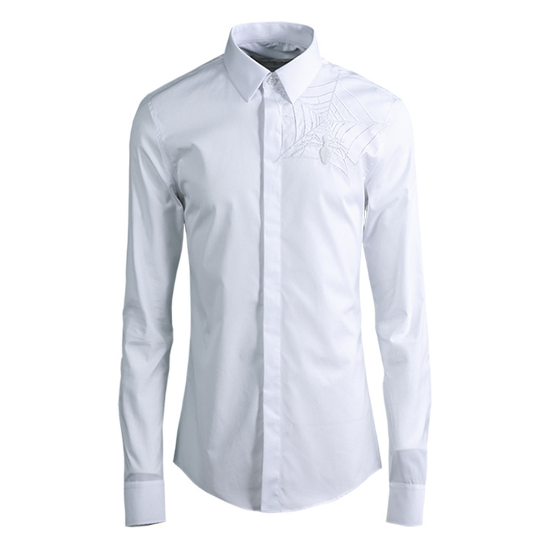 New Embroidered Men's Shirt Streetwear Men Dress Shirts Long Sleeve Ropa De Hombre Men Clothes 2018