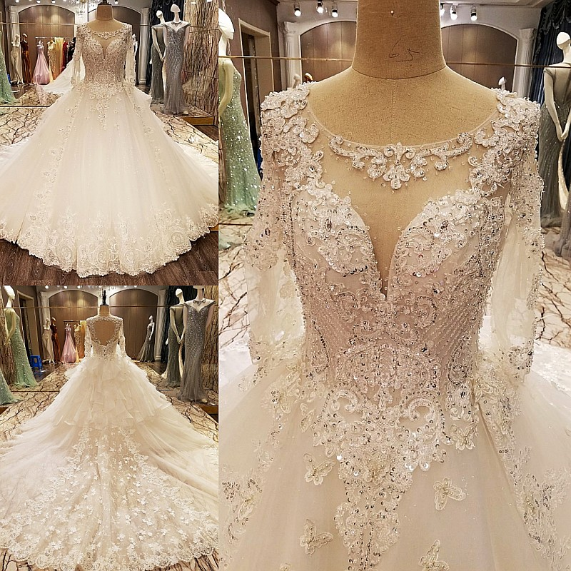 LS89965 elegant bridal dresses beading ball gown O neck corset ...