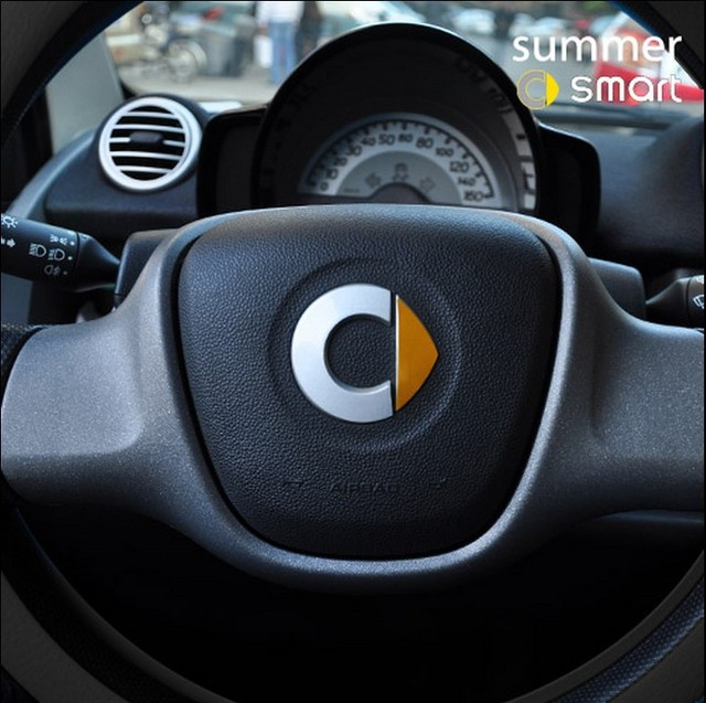 Benz Smart Car Styling Key Sticker Reflective Fortwo Steering Wheel Logo Color Change Freeshipping