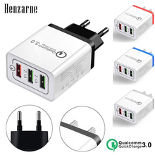 Henzarne QC 3.0 Fast 3USB Wall Charger Adapter EU/US Plug Universal For iPhone Samsung