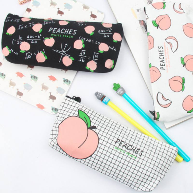 20*8.5*1.3cm school pencil cases for girl stationery canvas pencil bag Stationery box school supplies Canvas Peach pencil cases