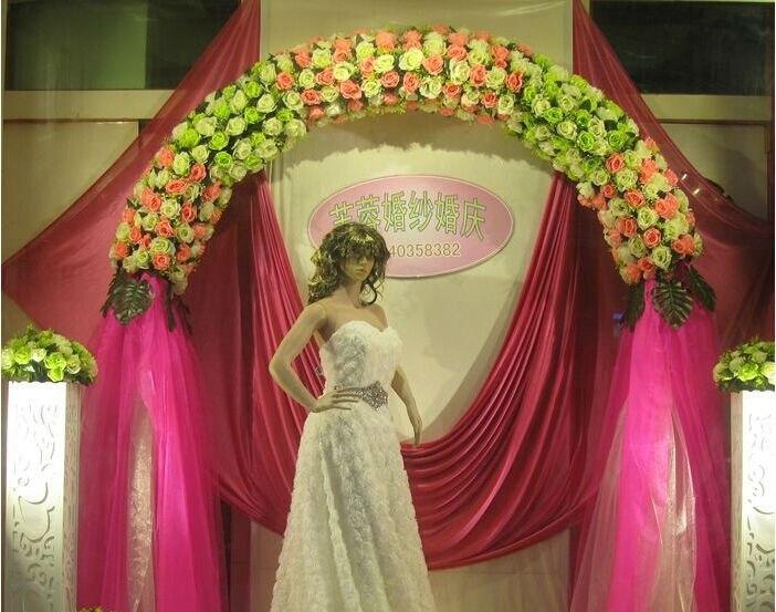 Свадебная композиция Свадебные Искусственные Свадебные шелковые розы арки цветочное свадебное украшение ряд цветов рамка с цветами 10 шт./партия