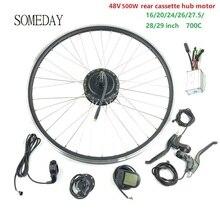 цена на SOMEDAY E-bike conversion kit  with LCD5 display 16 20 24 26 27.5 28 29 700C 48V500W EBIKE rear cassette hub motor