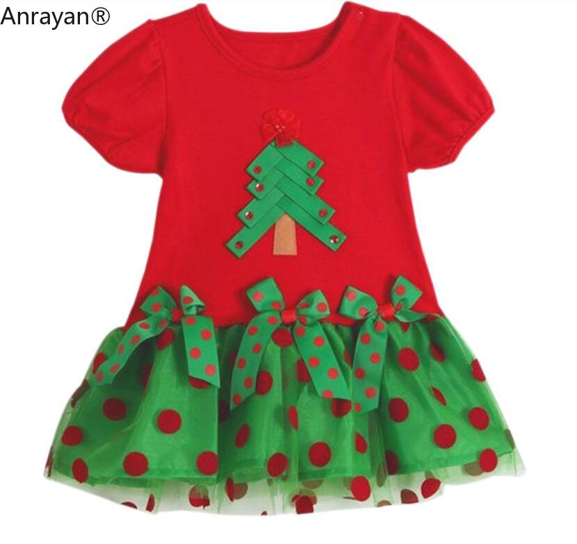 Baby Girls Christmas Tree Clothes Dresses Girls Short Sleeve Dress Cotton Princess Baby Dress Baby Girl Dresses Party Clothing
