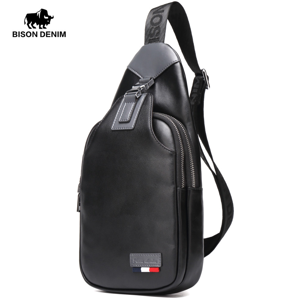BISON DENIM Genuine Leather Crossbody Bags Men Casual Messenger Bag Small Brand Design Male Shoulder Bag Chest Waist Pack N2492 danjue brand men chest bags real genuine leather male messenger bag casual fashion highquality big capacity travel crossbody bag