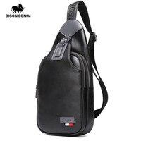 BISON DENIM Genuine Leather Crossbody Bags Men Casual Messenger Bag Small Brand Design Male Shoulder Bag