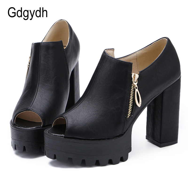 Gdgydh Large Size Women Shoes 2017 New Arrivals Female Pumps Open Toe Platform Thick High Heels Women Single Shoes Drop Shipping free shipping 18cm brand new top quality platform women pumps 7 inch thick with high heels women shoes pole dancing shoes us 12