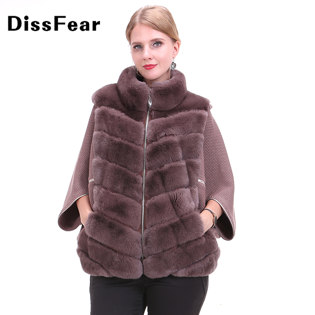 Real Rex Rabbit Fur Coat Winter Natural Fur Jacket with Knitted Bat Sleeve Women's Winter Outerwear with Genuine Real Fur coat