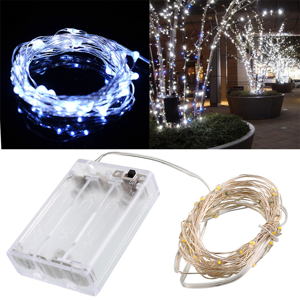 New 2M 3M 4M 5M Copper Silver Wire LED String lights Waterproof Holiday lighting For Fairy Christmas Tree Wedding Party Deco in Lighting Strings from Lights Lighting