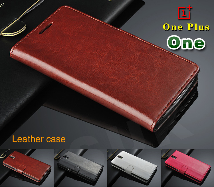 Oneplus One 1+ Genuine Flip Leather Case with FREE Screen Protector Case Cover for One Plus One One_Plus Original Phone