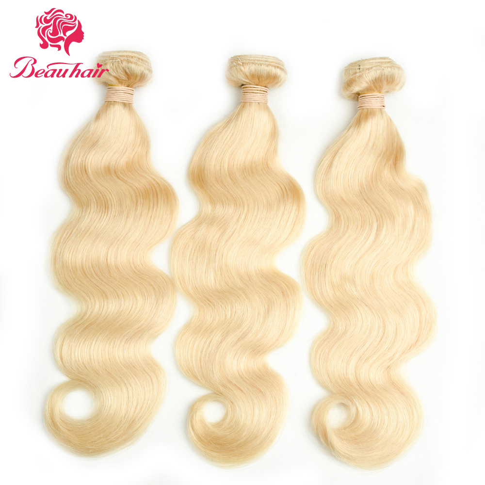 Beau Hair Bleached 613 Blonde Brazilian Body Wave Hair Weave 4 Pieces Human Hair Bundles 6-26Inches Non Remy Hair Extension