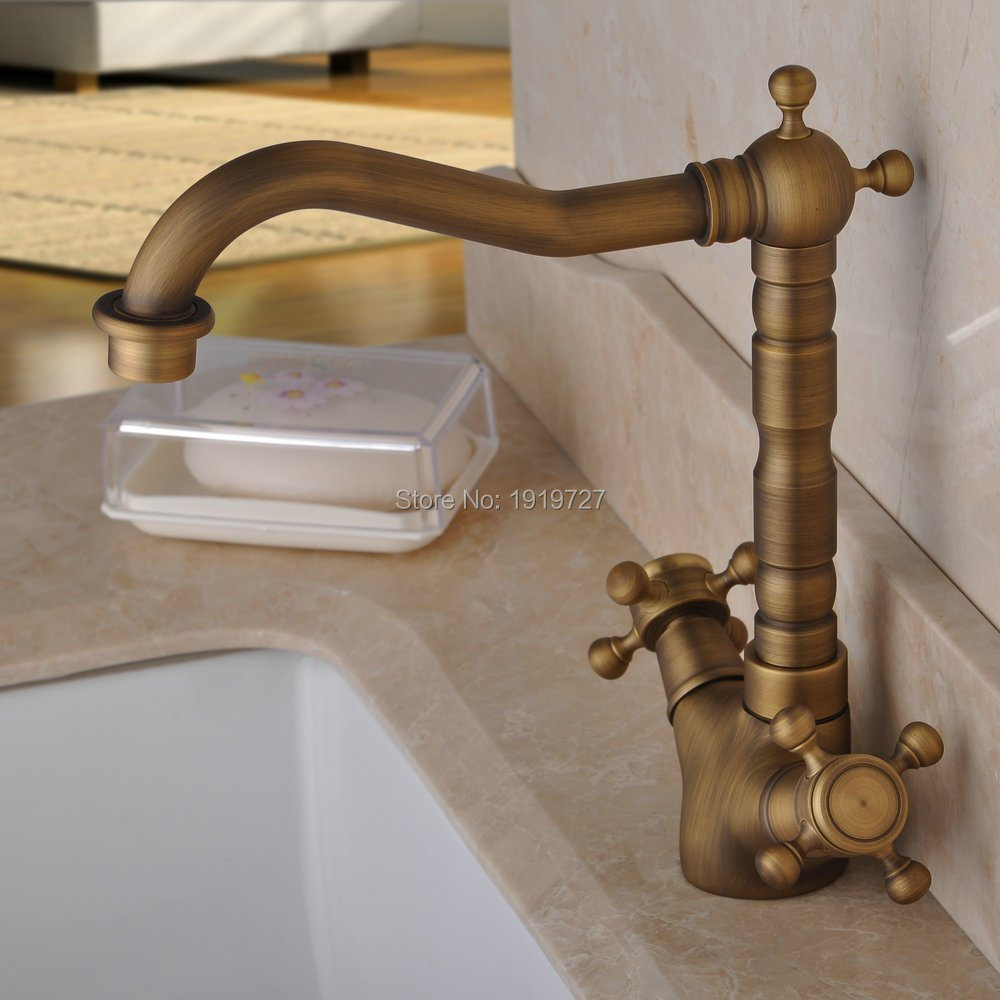 100% Solid Brass High Quality Old Style Hot And Cold Mixer Tap Antique Brass Bathroom & Kitchen Faucet With Double Cross Handle kemaidi high quality brass morden kitchen faucet mixer tap bathroom sink hot and cold torneira de cozinha with two function