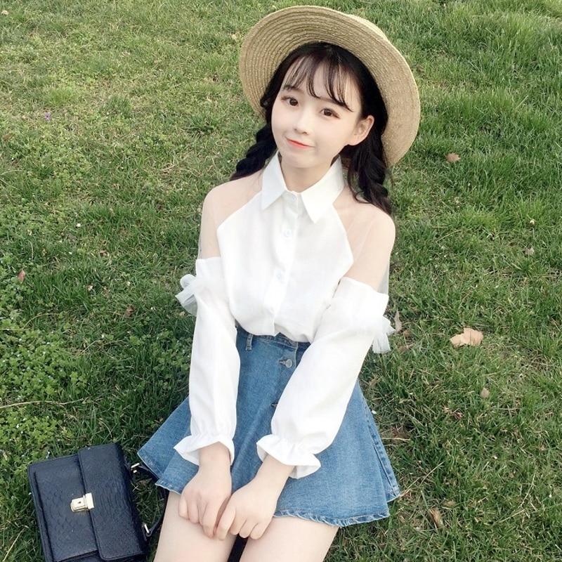 Coréen doux maille femmes chemises col Vintage blanc dentelle couture top en mousseline hors épaule vêtements Sexy bureau dames Blouses