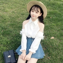 Korean Sweet Mesh Women Shirts Vintage Collar White Lace Stitching Chiffon Tops Off Shoulder Clothes Sexy Office Ladies Blouses