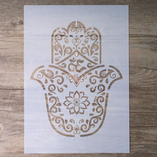 A4 A3 A2 DIY Craft Hamsa Palm Mandala Stencil For Wall Painting Scrapbooking Stamping Album Decorative Embossing Paper Card