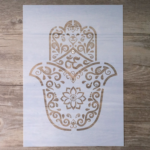 A4 Hamsa Palm Mandala Stencil for DIY Crafts and Decoration