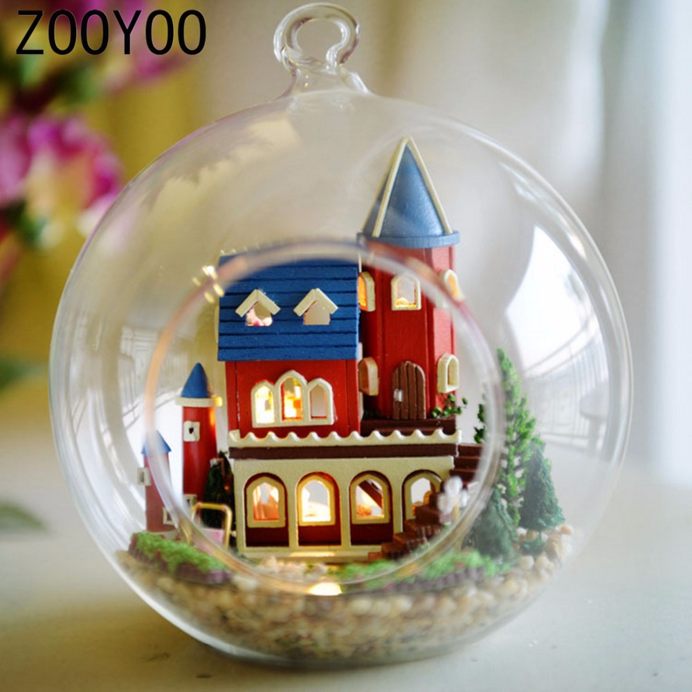 Miniature crystal ornaments - Zooyoo Diy Wooden Alice Dream Castle Miniature Dollhouse Voice Control Light Crystal Glass Ball Kids Toy Gift Hanging Decoration
