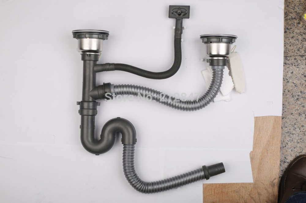 Plastic Flexible Flume Pipe Washbowl Water Double Sink Basin Drain Hose Stainless Steel 304 Strainer Set