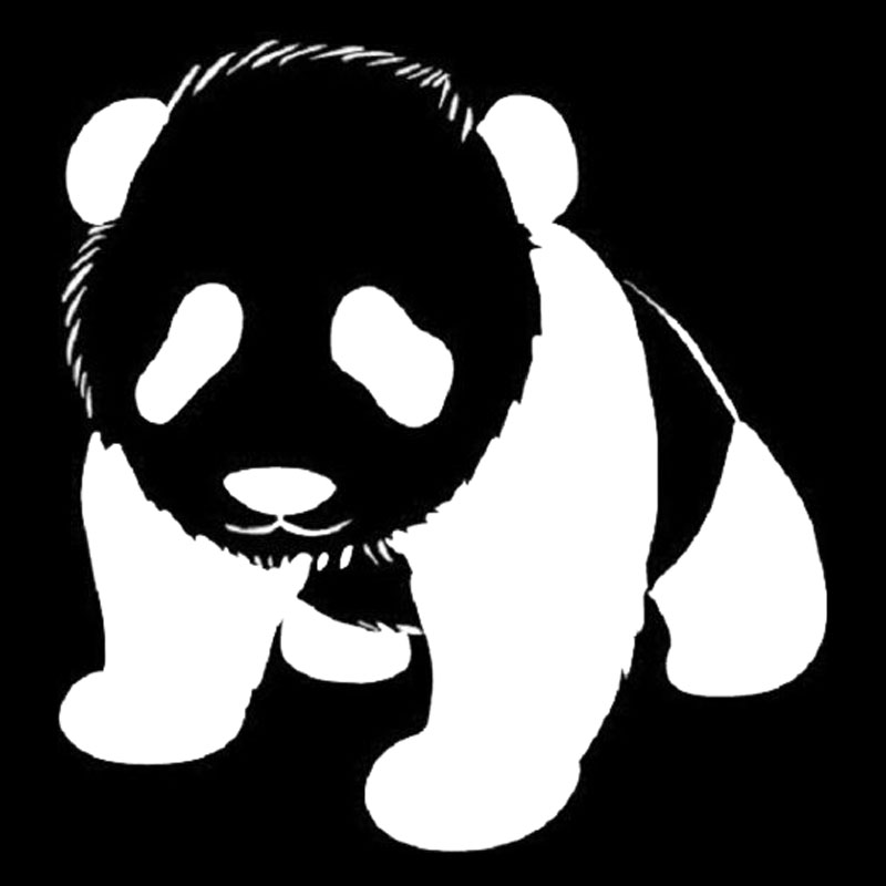 14.4*15.2CM Baby Panda Car Styling Decal Cute Rare Animal Vinyl Waterproof Car Stickers Black/Silver S1-2192