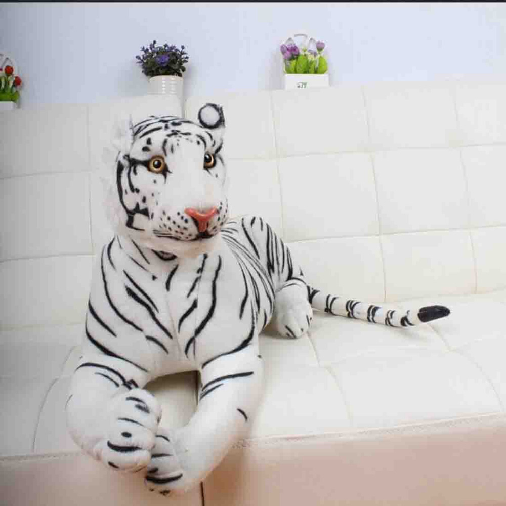 110cm large plush stuffed animal toys white tiger plush Toy Doll for home decoration gift huge 105cm prone tiger simulation animal white tiger plush toy doll throw pillow christmas gift w7973