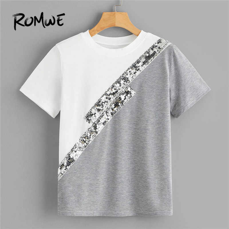 ROMWE Color-Block Sequin Panel T Shirt Women Clothing 2019 Casual Round Neck Short Sleeve Tshirt Ladies Tops Summer  Top
