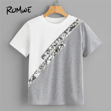 ROMWE Color-Block Sequin Panel T Shirt Women Clothing 2019 Casual Round Neck Short Sleeve Tshirt Ladies Tops Summer  Top crew neck inverted triangle color block panel t shirt