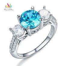 Павлин звезда 925 серебро 3-камень свадебные Обещание Обручение кольцо 2 ct синий камень Винтаж Стиль Jewelry CFR8226