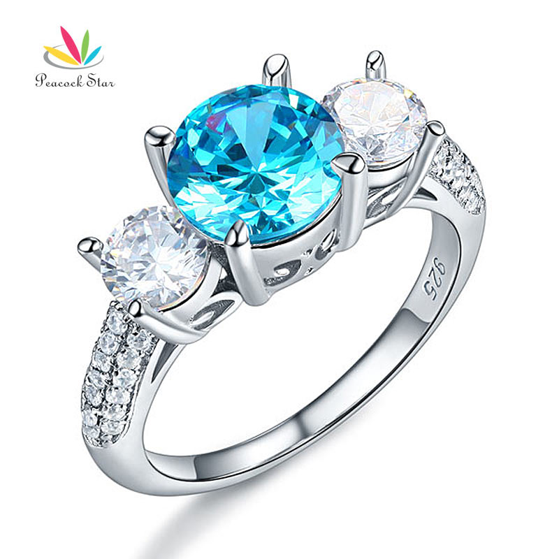 Peacock Star 925 Sterling Silver 3-Stone Bridal Promise Engagement Ring 2 Ct Blue Stone Vintage Style Jewelry CFR8226