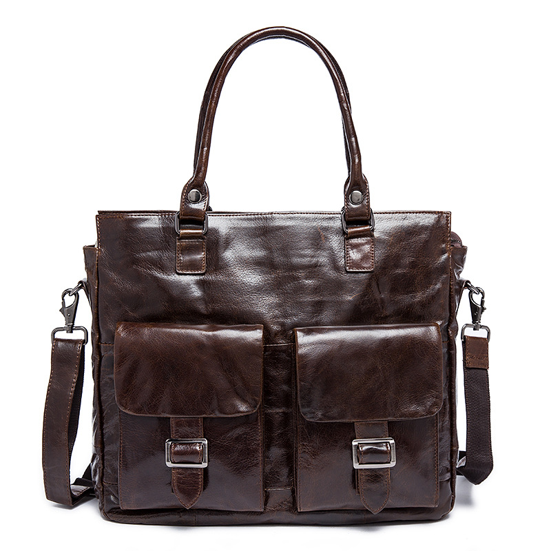 цена Vintage Men Bags Genuine Leather Bag Business Bag Briefcase Portfolio Real Leather Men Messenger Bags