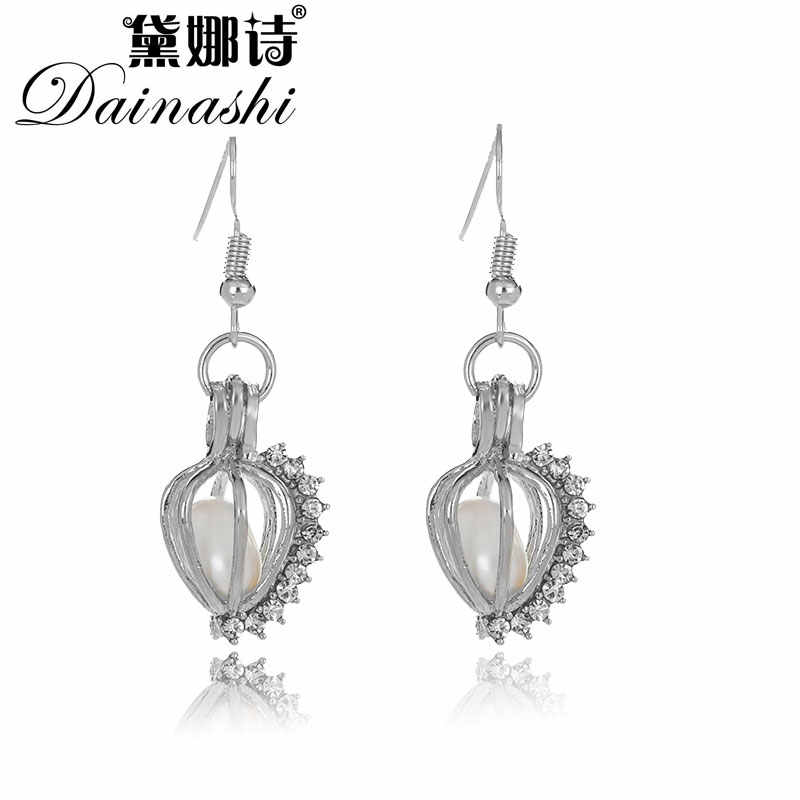 New Arrival Sparkling Heart locket Pearl Earring, Cage Earring Set Genuine Oyster Pearl, Earrings for Women Love Wish Gift