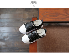 2016 new spring children shoes boys girls sneakers fashion kids Genuine Leather  shoes  black white blue and  kakhi