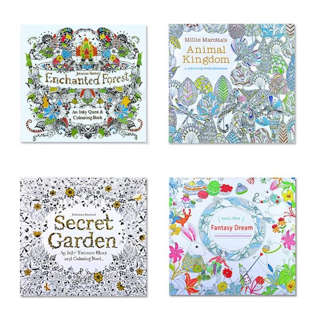 4Pcs English Edition Secret Garden+fantasy Dream +animal Kingdom ...
